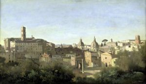 The Forum seen from the Farnese Gardens Rome 1826 by Jean-Baptiste-Camille Corot