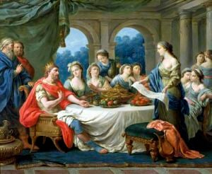 Esther and Ahasuerus c.1775 by Francois Langrenee
