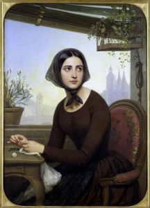Rigolette Trying to Distract herself during Germain's Absence 1844 by Joseph Desire Court