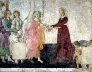 Venus and the Graces offering gifts to a young girl 1486 by Sandro Botticelli