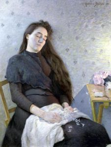 The Sleeping Flower Girl 1892 by Eugene Assezat de Bouteyre