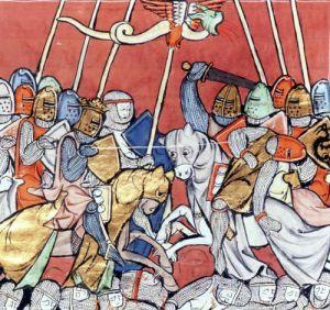 King Arthur in Combat by Robert de Barron by French School