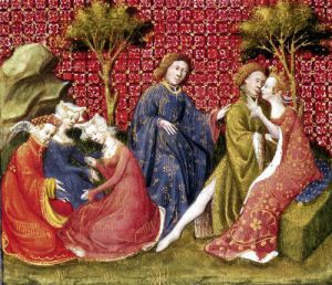 Lancelot and Guinevere from Lancelot du Lac c.1470 by Anonymous