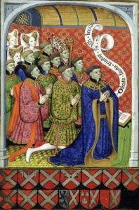 The Neville family at prayer from the Neville Book of Hours 1430 by Master of the Munich Golden Legend