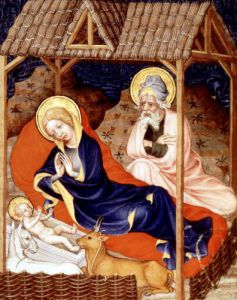 Nativity and Visitation of the shepherds from Duc de Berry's Tres Belle Heures by Anonymous