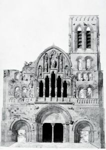 The Facade of La Madeleine de Vezelay by Eugene Emmanuel Viollet-Le-Duc