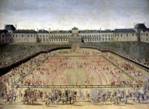 Carousel given for Louis XIV in the Court of the Palace of the Tuileries 1662 by French School