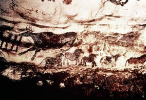 Rock painting of a leaping cow and a frieze of small horses by Anonymous
