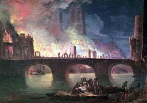 A Fire at the Hotel-Dieu in 1772 by Jean Baptiste Genillion