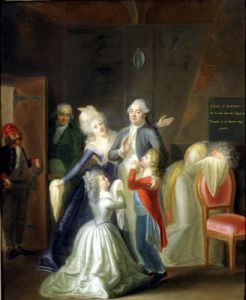 Farewell to Louis XVI by his Family in the Temple 1793 by Jean-Jacques Hauer