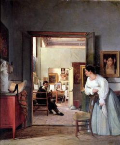 The Atelier Of Ingres In Rome, 1818 (II) by Jean Alaux