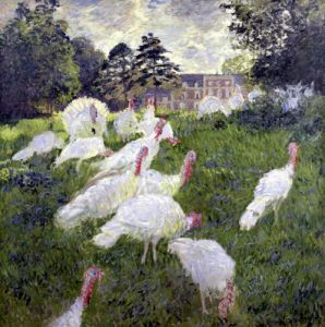 The Turkeys at the Chateau de Rottembourg Montgeron 1877 by Claude Monet