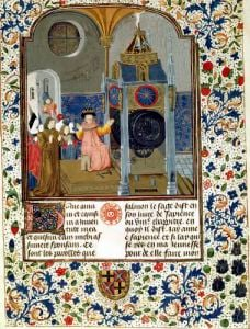 The household admiring the master's rare clock from a treatise on morality by Anonymous