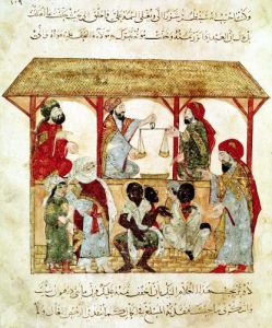 A Slave Market from 'Al Maqamat' by Al-Hariri by Persian School