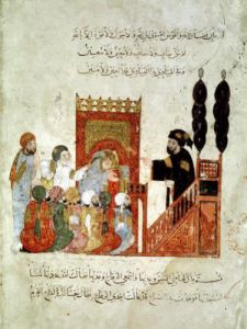 Abou Zayd preaching in the Mosque from 'Al Maqamat' by Al-Hariri by Persian School