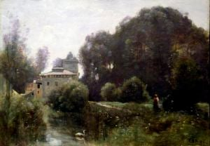 Souvenir of the Villa Borghese 1855 by Jean-Baptiste-Camille Corot