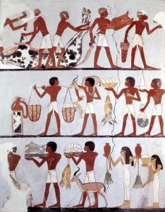 Scene of butchers and servants bringing offerings Tomb of Onsou by Egyptian Art