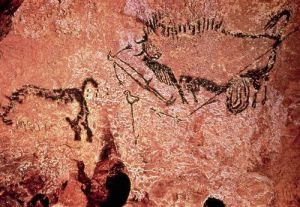 Rock painting of a hunting scene by Anonymous