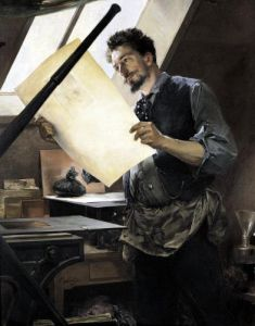 Felicien Rops in his studio by Paul Mathey