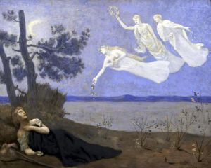 The Dream' In his sleep he saw Love Glory and Wealth appear to him 1883 by Pierre Puvis de Chavannes