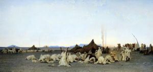 Evening Prayer in the Sahara 1863 by Gustave Guillaumet
