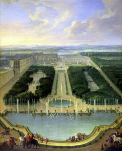 Perspective view of the chateau of Versailles 1696 by Jean-Baptiste Martin
