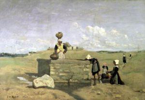 Breton Women at the Well near Batz c.1842 by Jean-Baptiste-Camille Corot