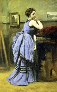 The Woman in Blue 1874 by Jean-Baptiste-Camille Corot