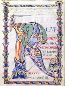 Historiated initial 'R' depicting a knight fighting a dragon by French School