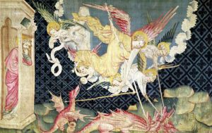 St. Michael and his angels fighting the dragon 1373 by Nicolas Bataille