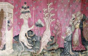 The seven-headed beast from the sea receiving the homage of men 1373 by Nicolas Bataille