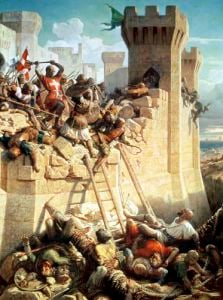 Guillaume de Clermont defending Ptolemais 1845 by Dominique Louis Papety