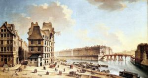 The Ile Saint-Louis from the Place de Greve c.1757 by Nicolas & Jean Baptiste Raguenet