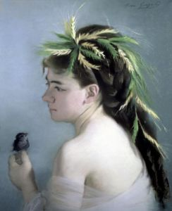 Portrait of a Girl holding a Sparrow by Eva Gonzales