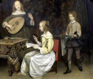 The Concert' Singer and Theorbo Player by Gerard ter Borch