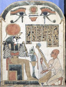 Stela of the harpist Djedkhonsuiuefankh Egyptian by Egyptian Art