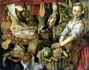 Kitchen Interior 1566 by Joachim Beuckelaer