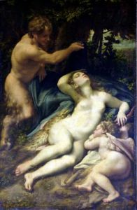 Venus Satyr and Cupid 1528 by Antonio Correggio