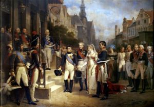 Napoleon Bonaparte receiving Queen Louisa of Prussia at Tilsit by Nicolas Louis Francois Gosse
