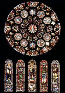 Rose and lancet windows from the south wall c.1224 by French School