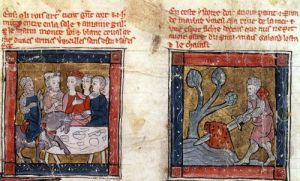 Galahad comes to Arthur and draws the sword in the river at Camelot c.1250 by French School