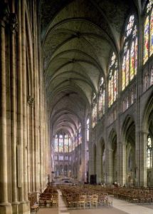 Interior view looking down the nave towards the east end by French School