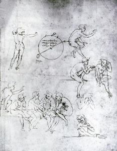 Study of figures for 'The Adoration of the Magi' by Leonardo da Vinci