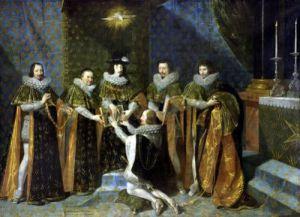 Louis XIII Receiving Henri d'Orleans Duc de Longueville1633 by Philippe de Champaigne