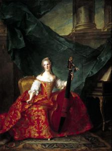 Madame Henriette de France in Court Costume Playing a Bass Viol 1754 by Jean-Marc Nattier