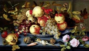 Still Life with Fruit Flowers and Seafood by Balthasar van der Ast
