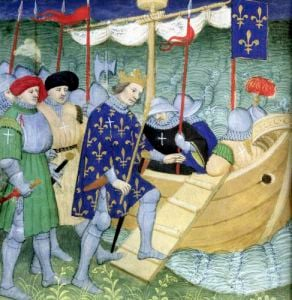 St. Louis disembarking for the Crusades by French School