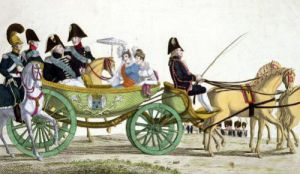 Louis XVIII and his Family Reviewing the Royal Troops by French School