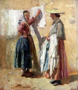 Washerwomen in Antibes 1869 by Jean-Louis Ernest Meissonier