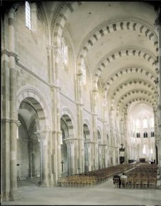 View of the interior of the nave by French School